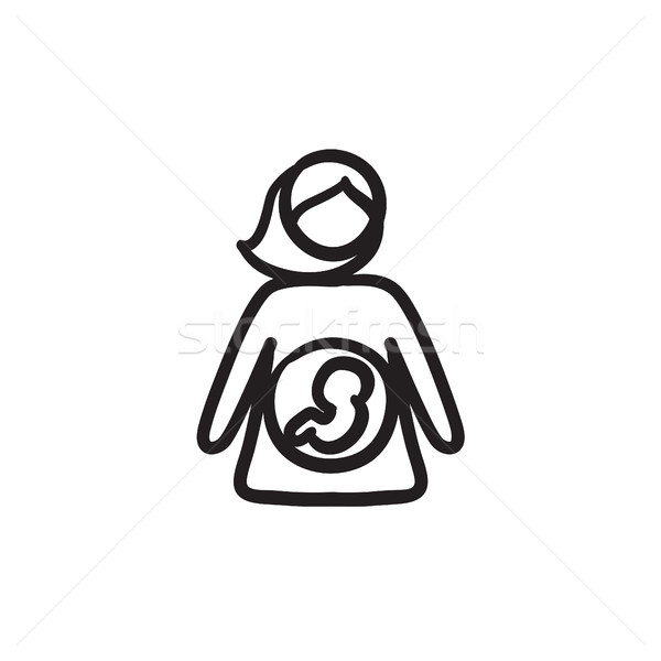 Baby fetus in mother womb sketch icon. Stock photo © RAStudio