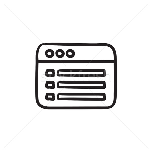 Browser window with folder contents sketch icon. Stock photo © RAStudio