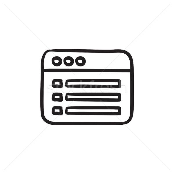 Stock fotó: Böngésző · ablak · mappa · tartalom · rajz · ikon