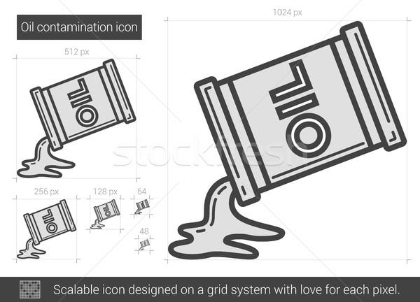 Stock fotó: Olaj · vonal · ikon · vektor · izolált · fehér