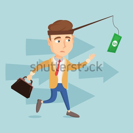 Businesswoman trying to catch money on fishing rod Stock photo © RAStudio