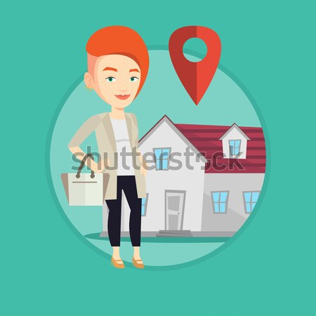 Realtor on background of house with map pointer. Stock photo © RAStudio