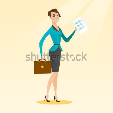 Stewardess showing passport and airplane ticket. Stock photo © RAStudio