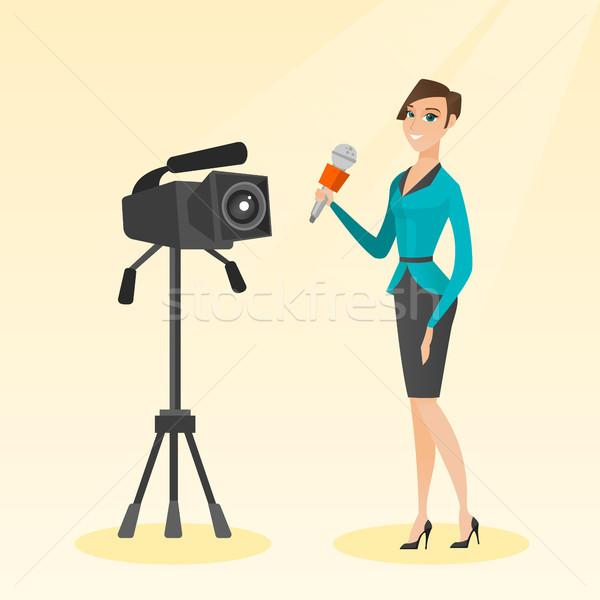 Telewizja reporter mikrofon kamery stałego Zdjęcia stock © RAStudio