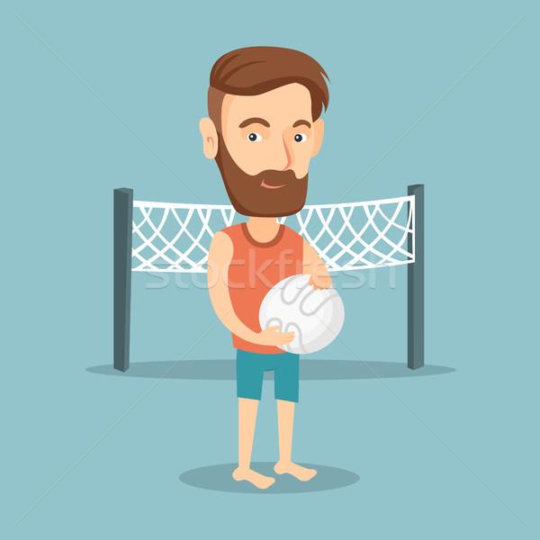 Plage volleyball joueur permanent net Photo stock © RAStudio