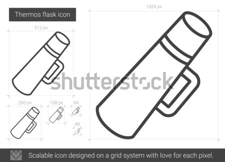 колба линия икона вектора изолированный белый Сток-фото © RAStudio