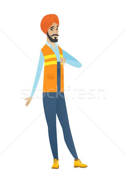 Decepcionado constructor pulgar abajo jóvenes Foto stock © RAStudio