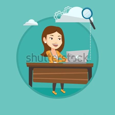 üzletasszony marionett kötelek dolgozik nő akasztás Stock fotó © RAStudio