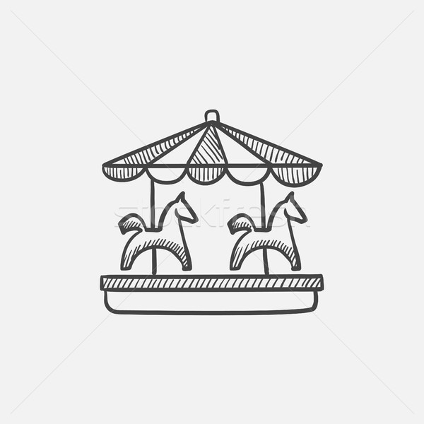 Stock photo: Merry-go-round sketch icon.