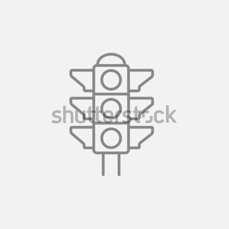 Jelzőlámpa vonal ikon sarkok háló mobil Stock fotó © RAStudio