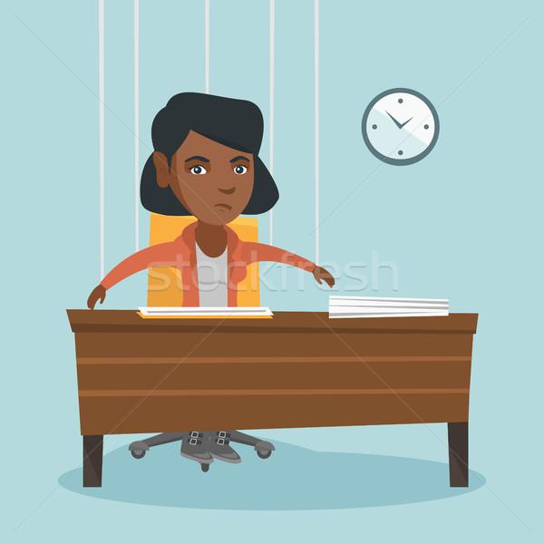 Pracownik biurowy wiszący jak marionetka Afryki posiedzenia Zdjęcia stock © RAStudio