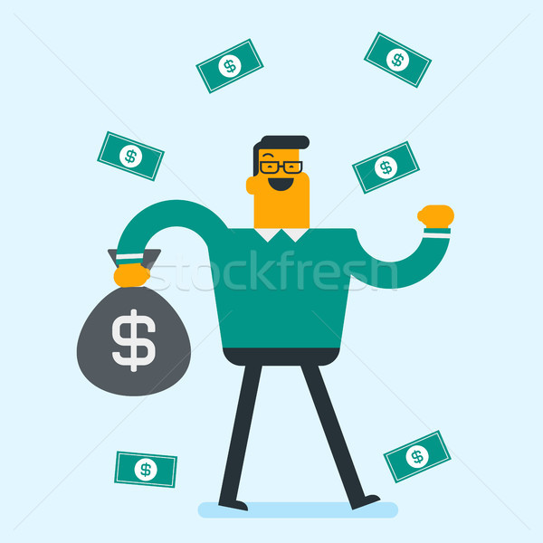 Happy caucasian white busiessman under money rain. Stock photo © RAStudio