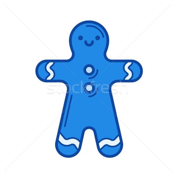 Gingerbread man line icon. Stock photo © RAStudio
