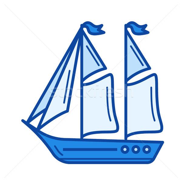 Zeilen boot lijn icon vector geïsoleerd Stockfoto © RAStudio