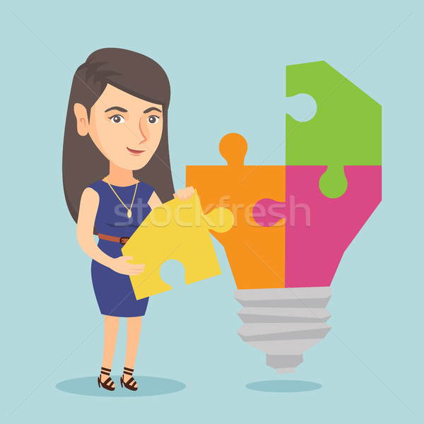 Student with idea lightbulb vector illustration. Stock photo © RAStudio