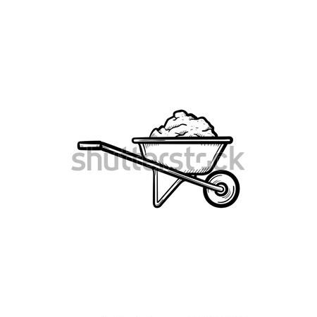 独轮车 充分 沙 手工绘制 素描 图标 商业照片 rastudio