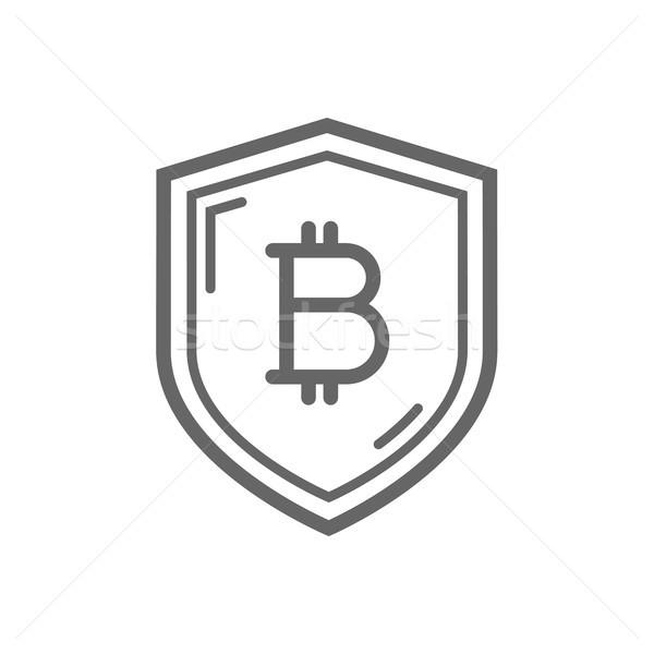 Bitcoin trust symbol on the shield line icon. Stock photo © RAStudio