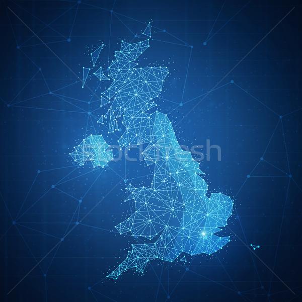 Polygon United kingdom map on blockchain banner. Stock photo © RAStudio