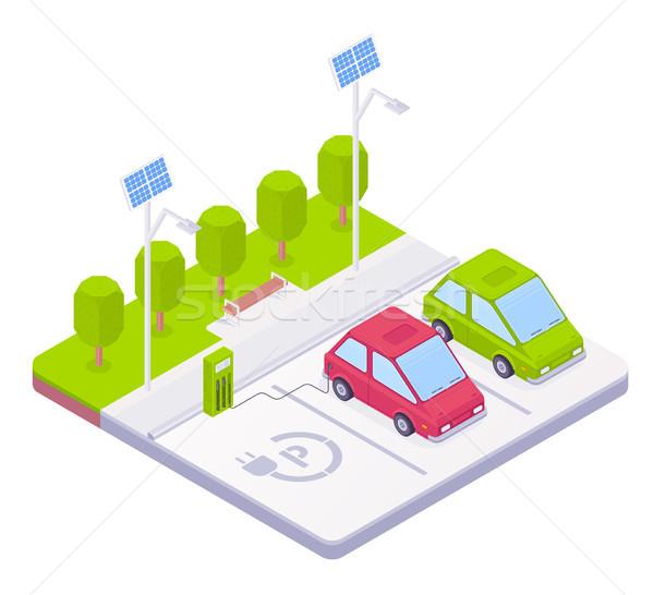 Isométrique voiture électrique parking gare solaire batterie Photo stock © RAStudio