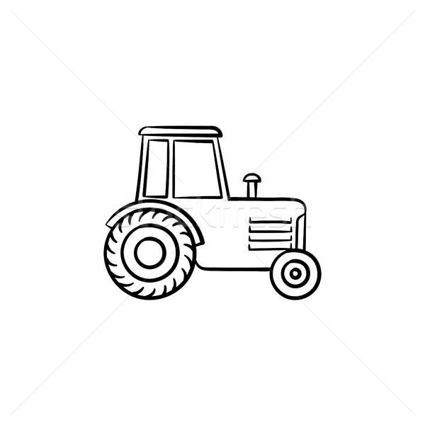 Traktor kézzel rajzolt rajz ikon skicc firka Stock fotó © RAStudio