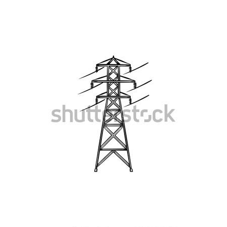 Electrical power line hand drawn outline doodle icon. Stock photo © RAStudio
