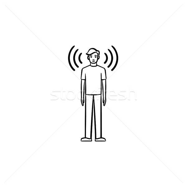 A man with soundwaves around hand drawn outline doodle icon. Stock photo © RAStudio