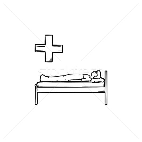 Patient lies on the couch hand drawn outline doodle icon. Stock photo © RAStudio