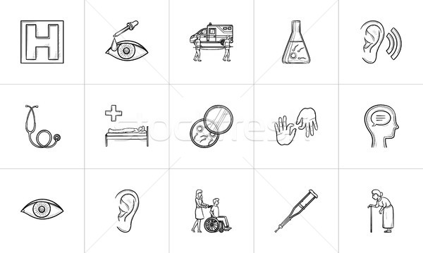 Stock photo: Medicine hand drawn outline doodle icon set.