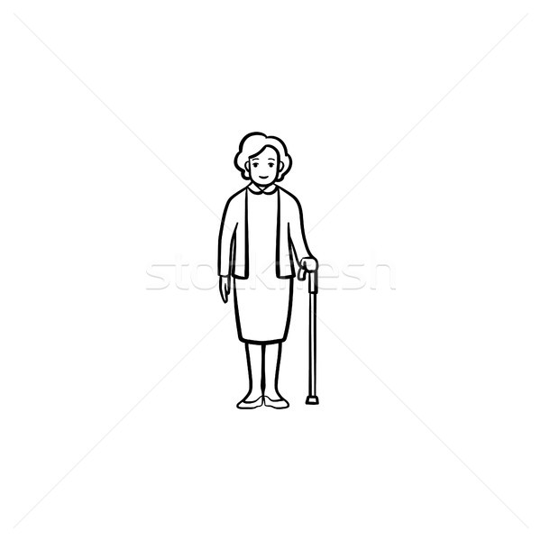 Pensioner woman with cane hand drawn outline doodle icon. Stock photo © RAStudio