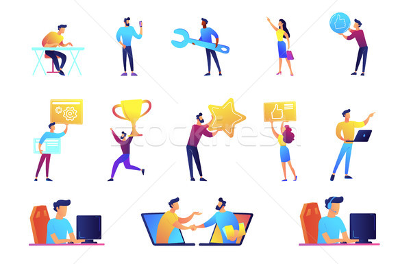 Businessmen and IT specialists vector illustrations set. Stock photo © RAStudio