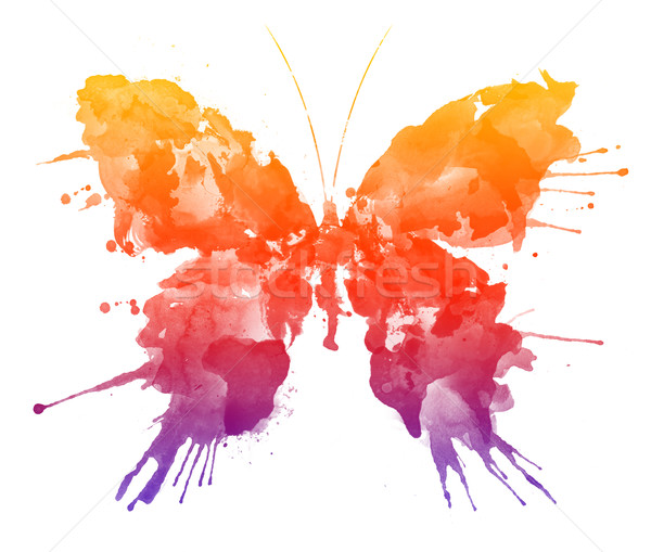 Papillon couleur pour aquarelle isolé blanche papier nature Photo stock © RAStudio