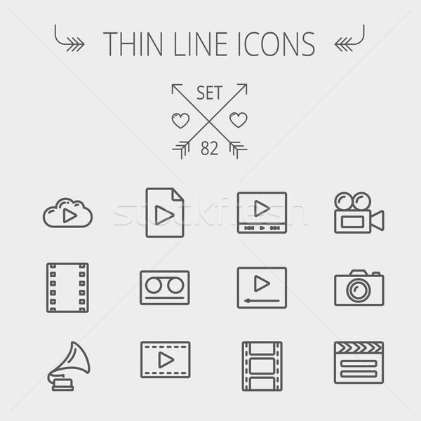 Mutimedia thin line icon set Stock photo © RAStudio