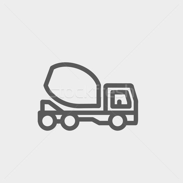 Konkretnych miksera ciężarówka cienki line ikona Zdjęcia stock © RAStudio
