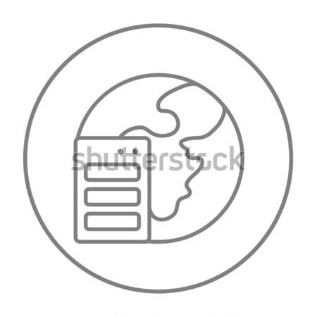 Global map in server thin line icon Stock photo © RAStudio