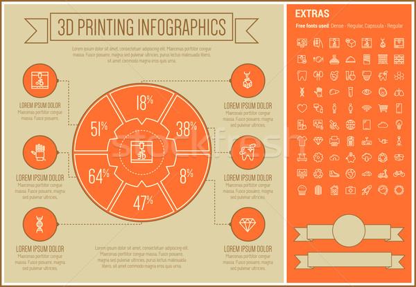 Foto stock: Três · impressão · linha · projeto · modelo
