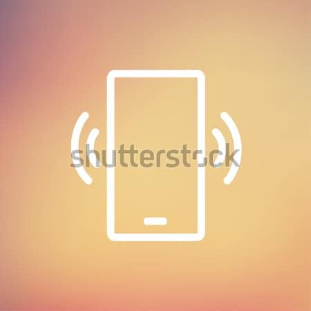 Mobile phone vibrating thin line icon Stock photo © RAStudio