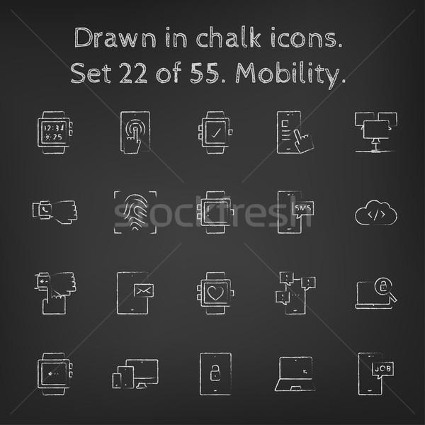 Mobilität gezeichnet Kreide Hand gezeichnet Tafel Stock foto © RAStudio