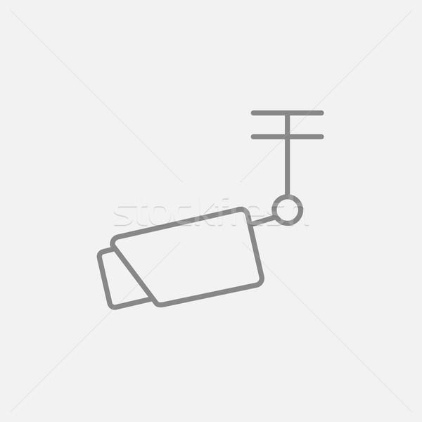 Szabadtér megfigyelés kamera vonal ikon háló Stock fotó © RAStudio