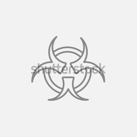 Bio veszély felirat vonal ikon háló Stock fotó © RAStudio