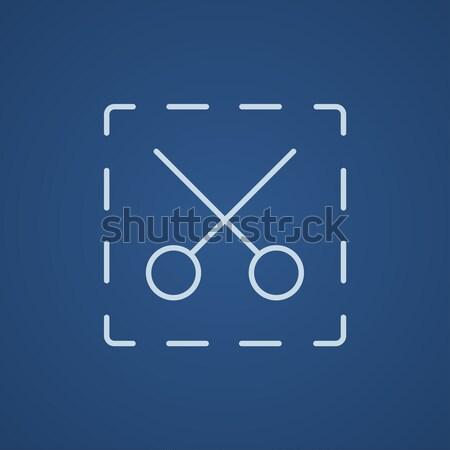 Forbici punteggiata linee line icona web Foto d'archivio © RAStudio