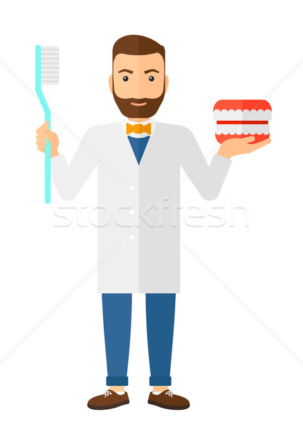 Dentist with dental jaw model and toothbrush. Stock photo © RAStudio