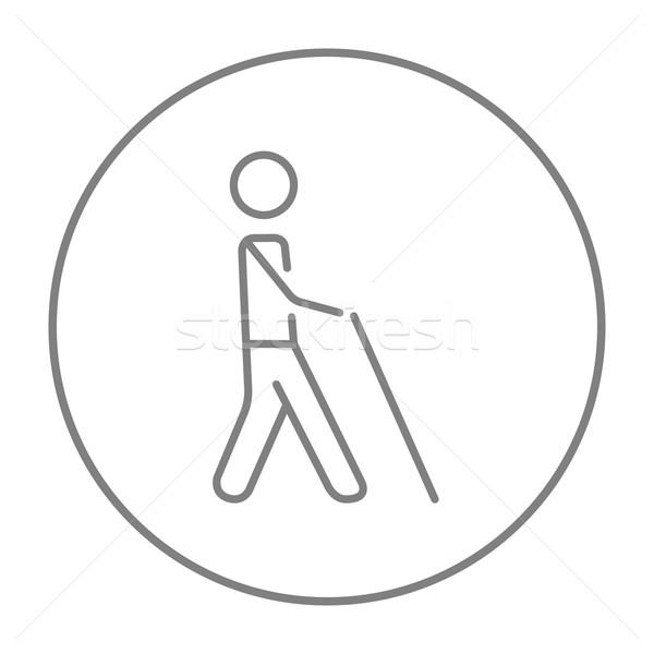 Ciego hombre palo línea icono caminando Foto stock © RAStudio