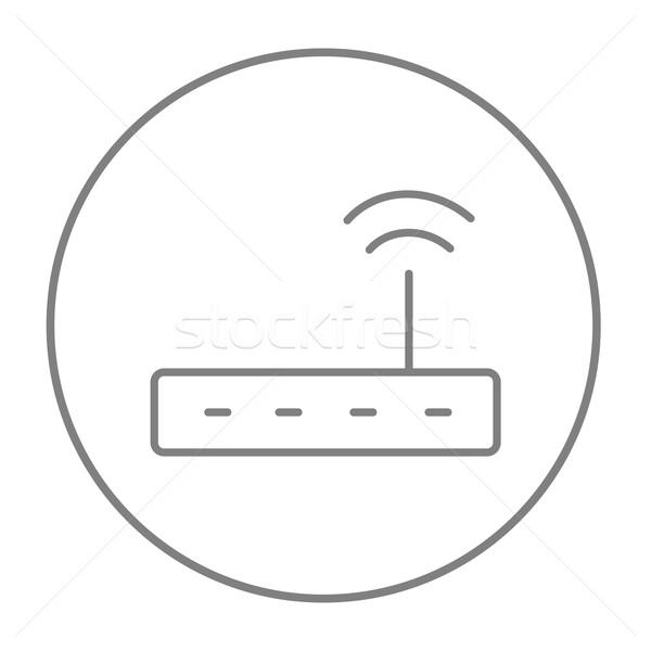 Wireless Router line Symbol Web mobile Stock foto © RAStudio