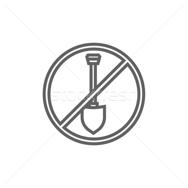 Stockfoto: Schop · verboden · teken · lijn · icon · web