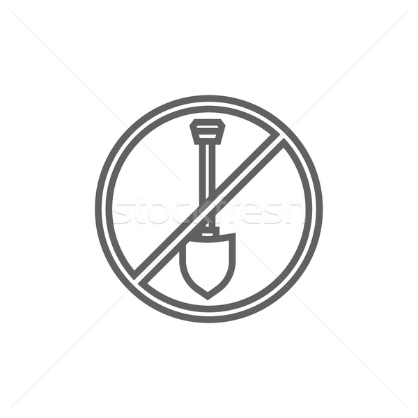 Shovel forbidden sign line icon. Stock photo © RAStudio