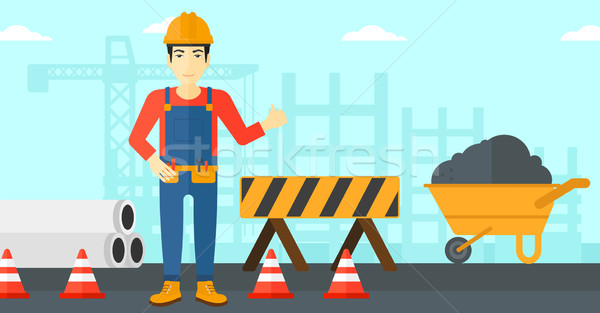 Builder showing thumbs up. Stock photo © RAStudio
