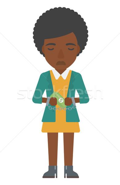 Vrouw handboeien criminaliteit zakenvrouw handboeien geld Stockfoto © RAStudio