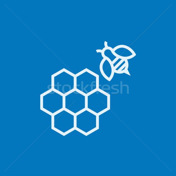 A nido d'ape ape line icona angoli web Foto d'archivio © RAStudio