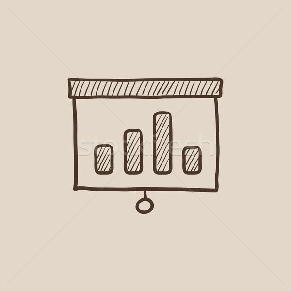 Projektor képernyő rajz ikon háló mobil Stock fotó © RAStudio