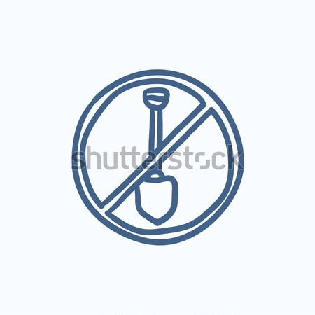 Schop verboden teken lijn icon hoeken Stockfoto © RAStudio